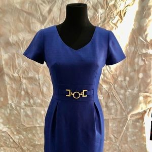 TAHARI BLUE BEAUTY WITH GOLD ACCENT CINCHED WAIST
